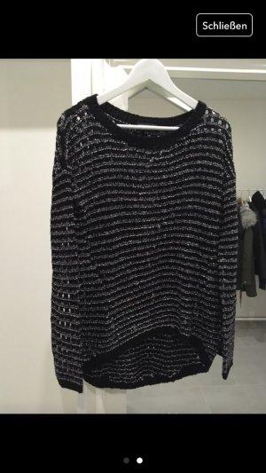 Strick Pullover grau schwarz weiß Glitzer Warehouse s m36 38