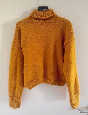 Strick Pullover handgemacht senfgelb