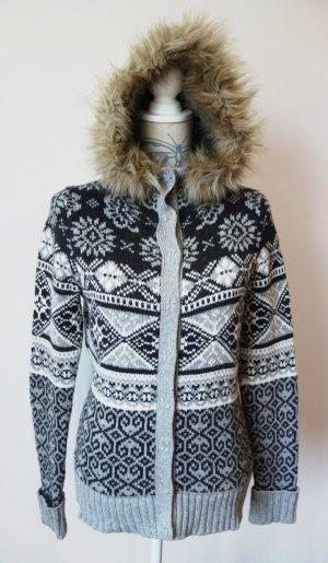 Strick Pullover Kapuze Fake Fur NEU