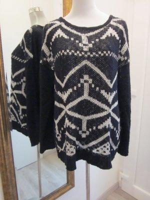 Strick Pullover schwarz weiss Gr L