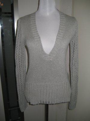 Strick Pullover V-Ausschnitt Grau Gr.38