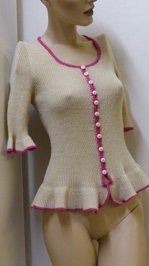 Blouse à volants beige clair-rose tissu mixte