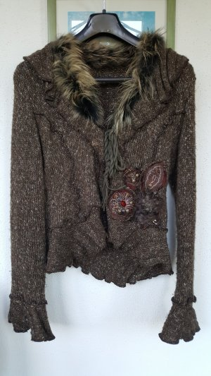 Knitted Twin Set brown mixture fibre