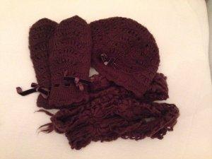 Strick Set: Mütze und Handschuhe mit Samtschleife, Schal, braun, H&M
