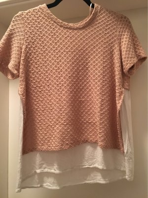 Zara Camisa de ganchillo color rosa dorado-blanco