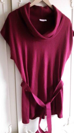 Strick Shirt Longshirt dunkelrot bordeaux Strickkleid großer Kragen Laura S