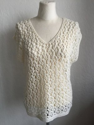 Strick.Shirt Top Häkelüberzieher Vintagestyle Offwhite Häkeloptik