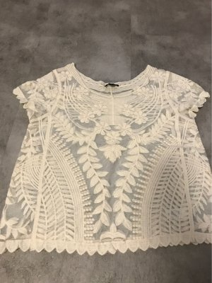 Express Camisa de ganchillo blanco-blanco puro