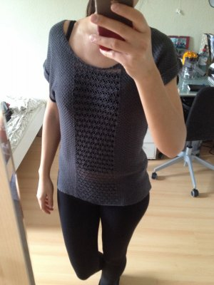 Only Top en maille crochet gris-gris anthracite