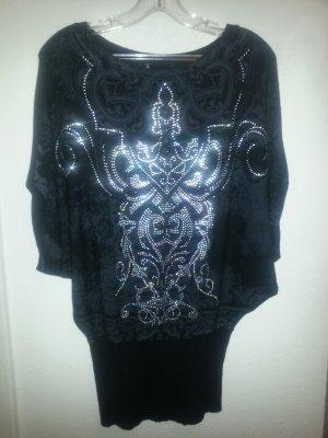 Camisa tejida negro-color plata