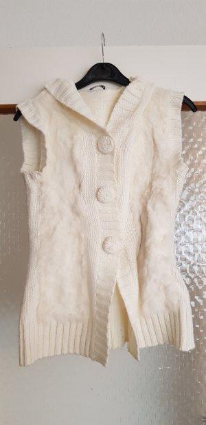 Gebreid vest wolwit-licht beige