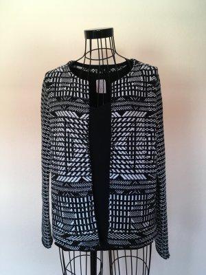 H&M Knitted Blazer black-white cotton