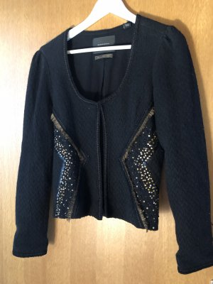 Maison Scotch Blazer tejido negro-color bronce