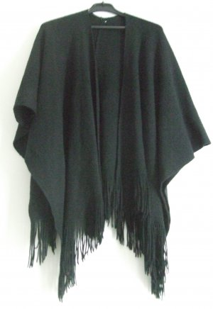 Strickcape mit Fransen schwarz - One Size