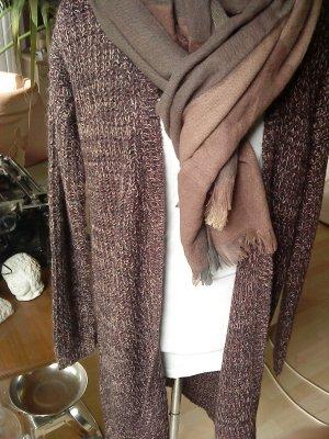 Strickcardigan lang in aubergine grau weiß meliert Vero moda  M