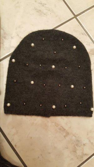 Sombrero de punto gris-blanco Acrílico