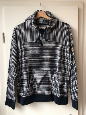 Adenauer & Co Hooded Sweater dark blue-white