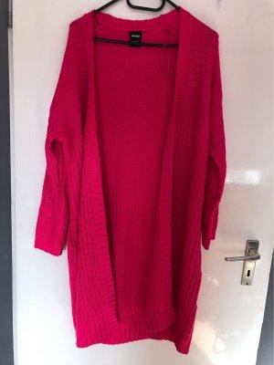 Cardigan a maglia grossa rosso neon-rosso lampone