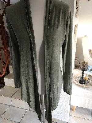 Short Sleeve Knitted Jacket khaki