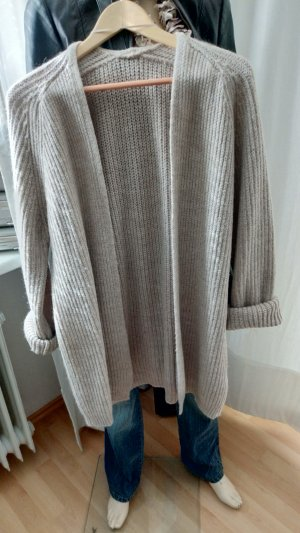 Coarse Knitted Jacket sand brown-light brown wool