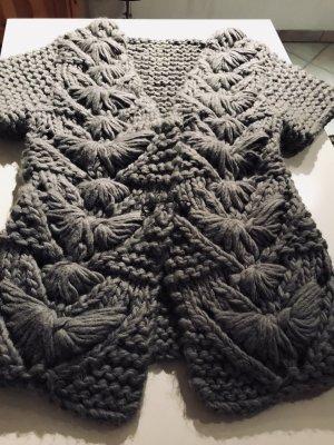 Sisley Cárdigan de punto grueso gris