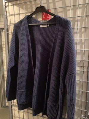 Basic Veste en tricot bleu foncé