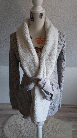 Esmara Veste tricotée en grosses mailles blanc-gris