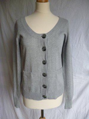 Strickjacke aus Baumwolle in Grau, Gr. L