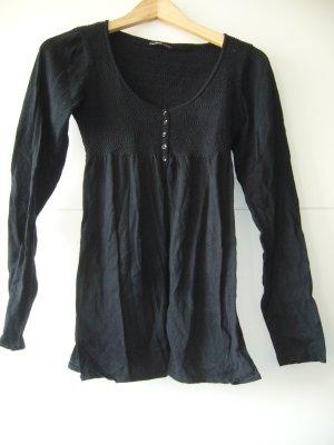 Strickjacke Babydoll schwarz oben geknöpft unten offen Fishbone XS 34 92% Baumwolle