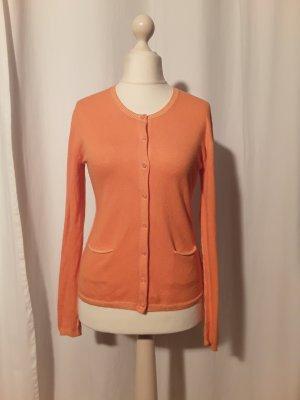 Strickjacke Baumwolle Kaschmir Rundhalsausschnitt Langarm Knopfleiste Taschen orange gelb Gr. S