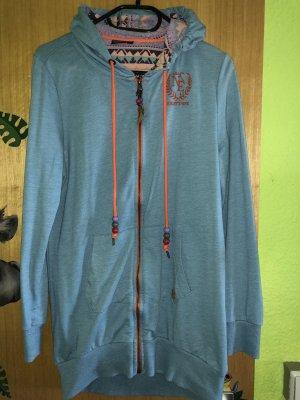 Manteau en tricot bleu azur-bleu acier