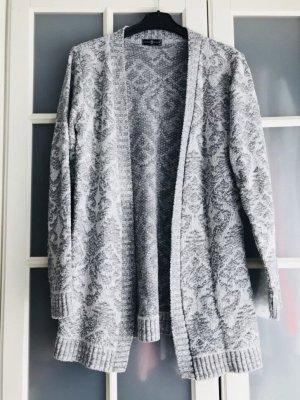 Veste en tricot gris clair-blanc