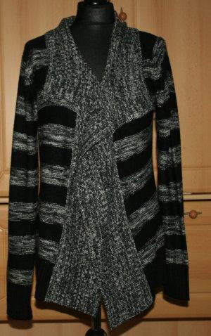 Strickjacke Cardigan grau schwarz gestreift Blind Date Gr. 36 / S