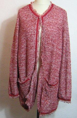 Strickjacke Cardigan Größe 48/50 Rot Weiß