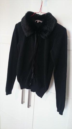 Strickjacke Cardigan mit Fellkragen schwarz Gr. XS 34 von Mint & Berry