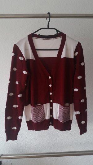 Veste en tricot blanc-rouge foncé