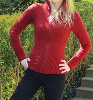 Strickjacke Cardigan rot weinrot Gr. 38 auch 36 Strick warm