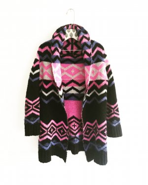 strickjacke / cardigan / vintage / schwarz / pink / purple / granny / knits
