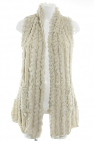 Veste en tricot crème-blanc cassé motif tricoté lâche style décontracté
