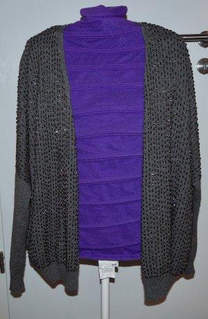 Strickjacke Damen mit Wolle 40/42 Grau mit Perlen Cosima