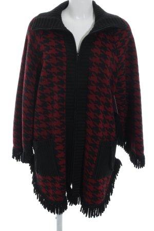 Rebeca rojo oscuro-negro estampado de pata de gallo look casual