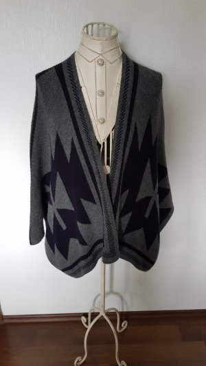 Poncho black-grey