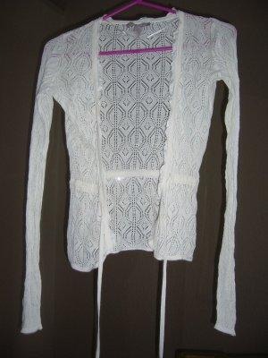 Mango Veste en tricot blanc cassé coton
