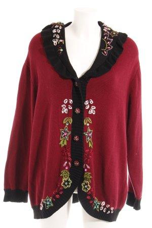 Veste en tricot motif floral style romantique