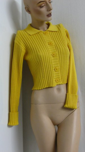 Coarse Knitted Jacket dark yellow mixture fibre