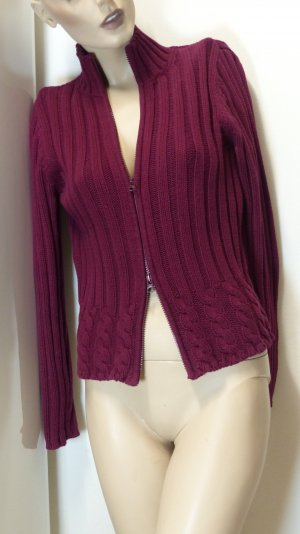 Mexx Coarse Knitted Jacket bordeaux cotton