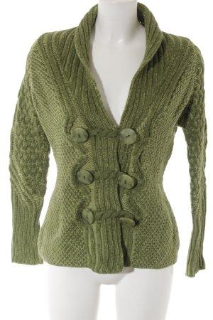 Strickjacke grasgrün-grün Webmuster Casual-Look