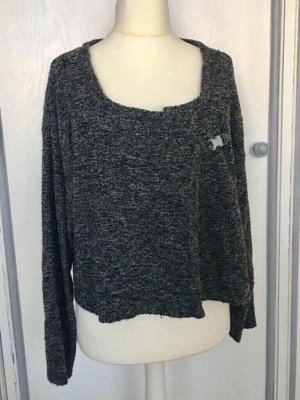 NAOMI Knitted Wrap Cardigan dark grey-grey
