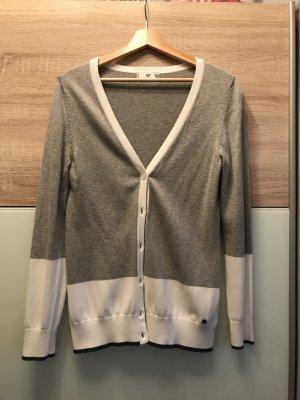 Strickjacke grau weiß