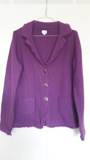 Strickjacke im Blazer-Stil Strukturstrick violett lila silberne Knöpfe Gr. 38